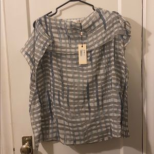 Checkered blue, white and grey flowing sheer top